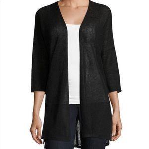 Eileen Fisher Links Cardigan Linen Black XXS